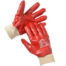 GLOVES PVC KNITTED WRIST RED